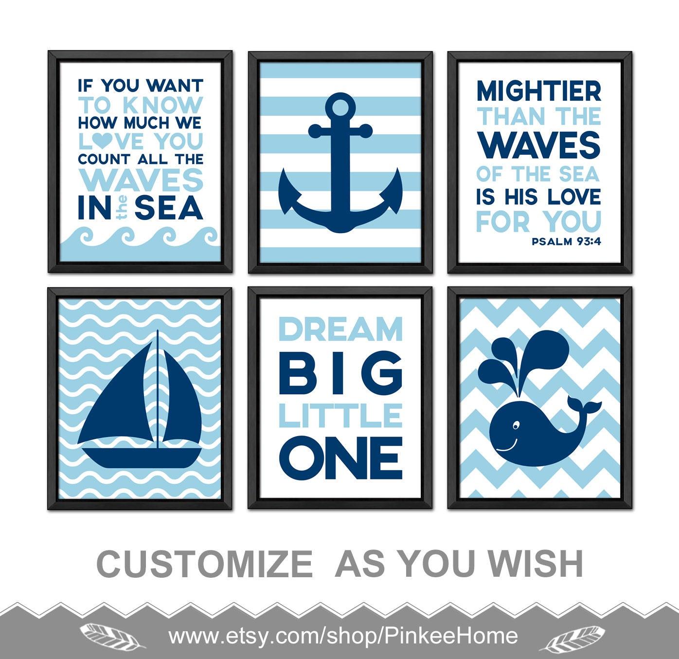 Nautical nursery prints nautical baby room decor christian zoom negle Gallery