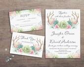 Rustic Wedding Invitation Printable, Deer Wedding Invitation, Antlers Woodland Wedding Invitation Suite, Printable Wedding Invitation Boho