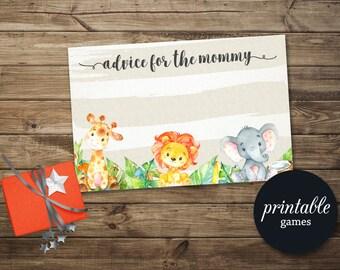 Advice For Mom, Baby Shower Advice Card Printable, Advice for Mommy to be, Jungle Baby Shower Games, Safari Baby Shower Games, Animal Games