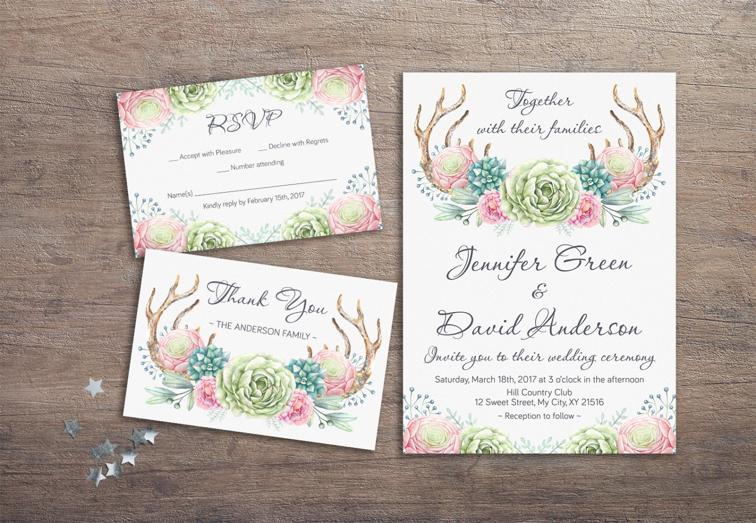 Deer Antlers Wedding Invitation
