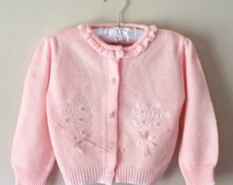 Vintage 1980s Sweet Pink Knit Baby Cardigan with Floral Embroidery and Ribbon Details 12 - 18 months