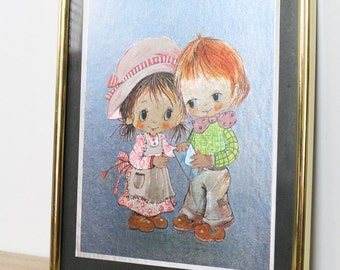 Vintage 1980s Foil Art Wide Eye Boy and Girl