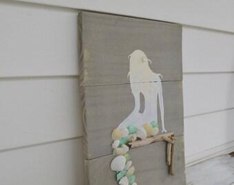 rustic wooden mermaid sign - blue -