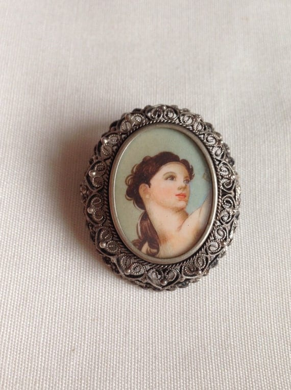 SALE! Antique Hand  PaintedBeautiful Lady / Miniature Framed Painting Portrait Brooch or Pendant / 800 Silver Filigree and Glass