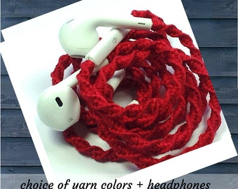Tangle Free Earbuds Wrapped Headphones for iPhone, iPod, Android ~ Your Choice of Colors Unique Birthday Gift for Teenager College Student