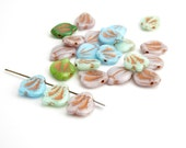 6 x 14x12mm Pastel Wavy Leaf Czech Glass Beads, Pink Leaf Beads, Copper Leaf Beads, Green Leaf Beads, Blue Leaf Beads LEA0029
