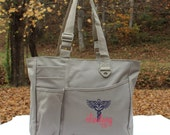 Custom Nurse Bag with Caduceus Nursing RN LPN CNA Tote Bag Gift Sister Personalized Custom Monogram
