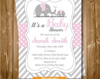 Elephant Baby Shower Invitation, Elephant Printable Party Invitation, Grey Pink Chevron Polkadots Shower, Elephant Party Supplies
