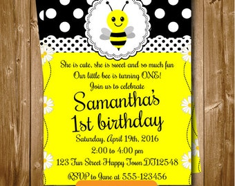 Any Age Bumble Bee Printable 1st 2nd 3rd 4th 5th 6th 7th Birthday Invitation Bumble Bee Birthday Invitation