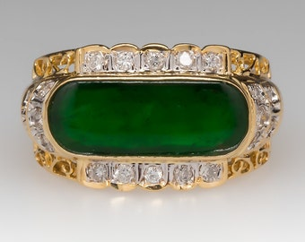 Jade Ring - Untreated Jade Ring - Jadeite Jade Ring - A-Jade Ring - Diamond Accents - 18K Yellow Gold - WMS11320
