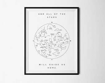 Star Chart, Constellation print, Star Guide, Star Map print, Stars print, Astronomy Poster, Constellations Map, Constellation Wall Print