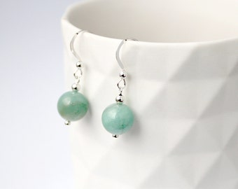 Amazonite Earrings, Sterling Silver, Amazonite, Silver Earrings, Sterling Silver Earrings, Amazonite Beads, Aqua earrings, Green earrings