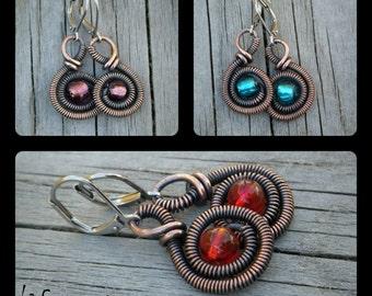 Earrings, Vintage copper & Glass bead