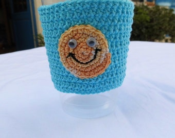 cup cozy, cup cuffs, smiley, cotton, coffee to go cozy, mug cuff, mug cozy, coffee warmer, made of order, many colors, smile