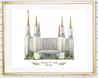 Washington D.C. Temple- Original Watercolor Print, Art, Wall Decor, Illustration, LDS Art, LDS Temple