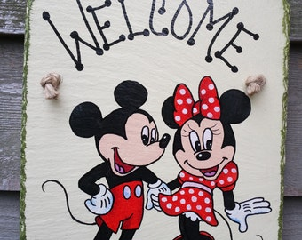 Mickey and Minnie Mouse Disney hand painted Welcome Wall-hanging Slate