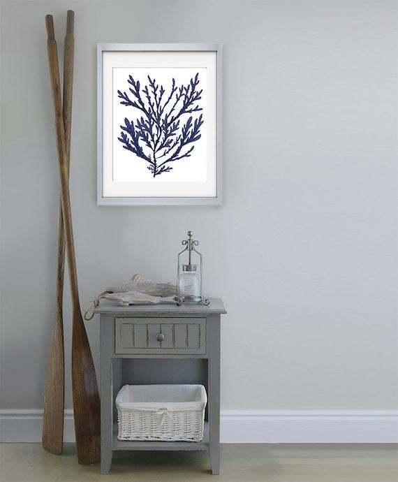 Coral Bathroom Ideas: Navy Blue Nautical Print Blue Coral Art 15 Bathroom Decor