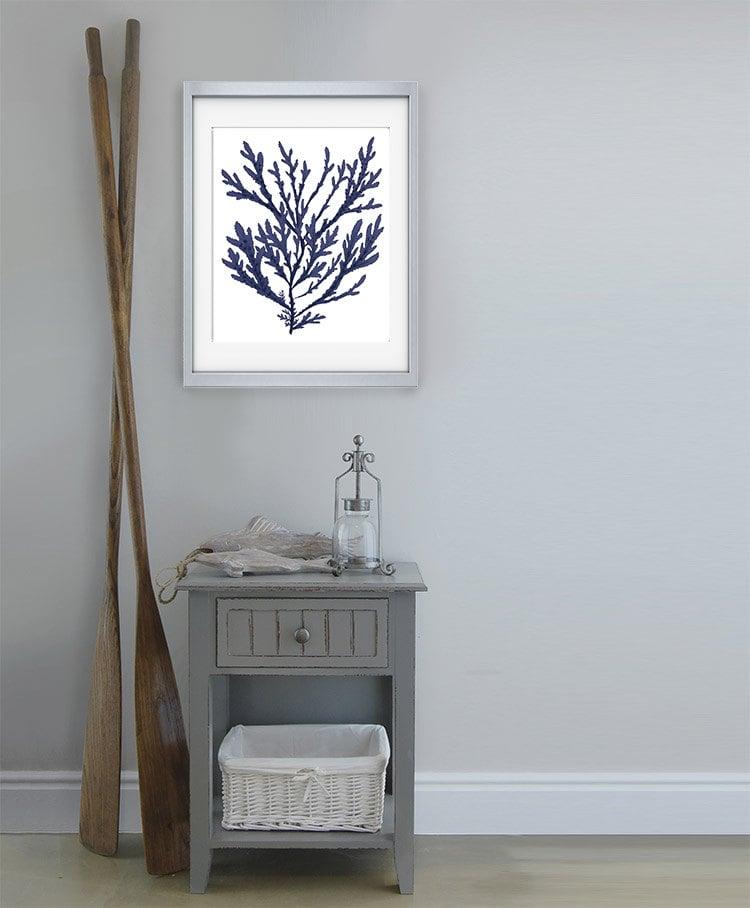 Navy blue nautical print blue coral art 15 bathroom decor for Bathroom decor coral