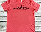 Archery Shirt - Archery Makes Me Happy - Light Red Unisex Archery T-Shirt