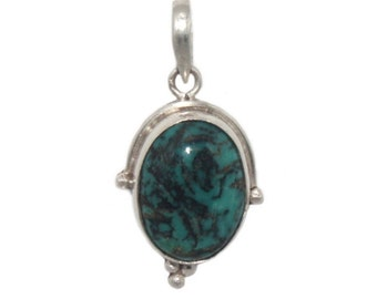 Sterling silver pendant Turquoise pendant Sterling silver necklace Boho necklace tribal necklace Turquoise jewelry Turquoise necklace SA21