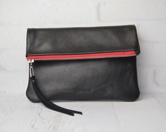 Foldover leather Clutch Pouch / carryall / handbag / purse / evening bag