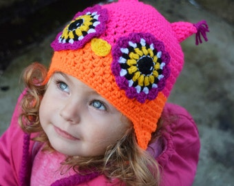 Handmade Crochet Owl hat, Girls hat, Todller hat, little Owl hat, Character Hat, Animal hat