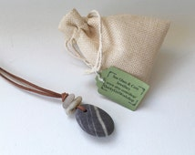 Zen necklace, beach pebble jewelry, raw stone necklace, rock jewelry, vegan jewelry, natural, faux suede knotted cord, long, brown