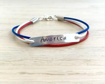 American Bracelet, 4th of July Bracelet, USA Bracelet, Red White & Blue, Patriotic Bracelet, Womens Leather Bracelet, Leather Charm Bracelet