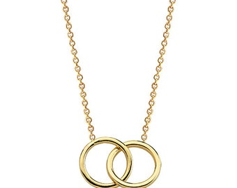 Two Rings 14K Solid Gold Necklace, Interlocking Rings Necklace, Eternity Necklace, Infinity Necklace, Double Eternity Circle Necklace