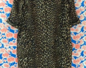 RAWR LEOPARD Print 1960's Tina Lee Travel Robe