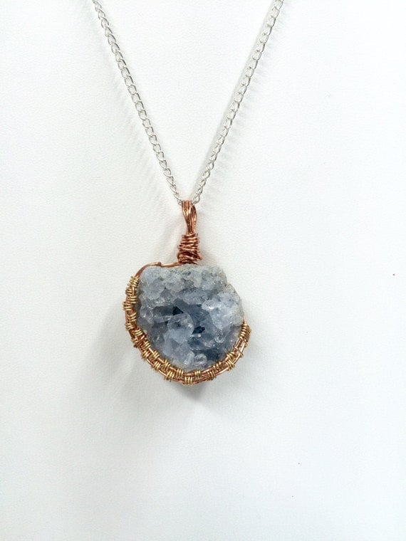 celestite wire wrapped pendant by starseedgardens