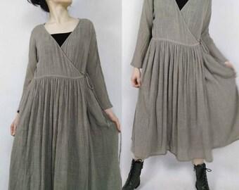 117---Cotton Gauze Wrap Dress / Jacket, Light Brown Cardigan.