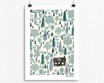 The Log Cabin - A4 Artists Print