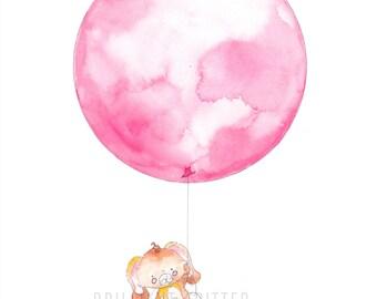 Balloon Nursery Illustration - Bunny with Balloon Art - Rabbit Baby Print - Balloon Children's Art - Kid's Balloon Art Print