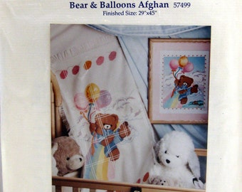 Bear & Balloons Afghan Counted Needlework By Candamar Cross Stitch Pattern Packet Undated