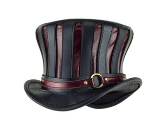 Mad Hatter Hat striped leather top hat in black and red - steampunk hat - Tall bell tophat - Alice in wonderland hat - circus hat - goth hat