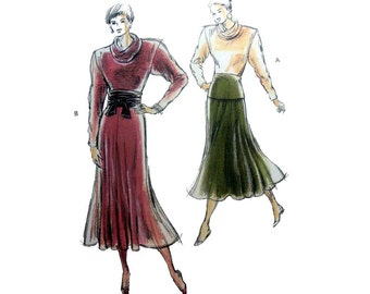 Women's Cowl Neck Top and Elastic Waist Flared Skirt Sewing Pattern Misses Size XS-S-M-L Uncut Kwik Sew 1769
