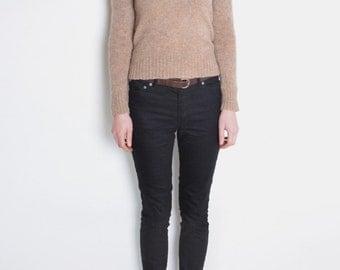 90's Shetland wool sweater, brown beige, grunge, preppy, minimalist sweater, simple sweater, v neck jumper