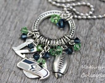 Seattle Seahawks Necklace, Seattle Seahawks Jewelry, Seahawks Fan Wear, Seahawks Necklace