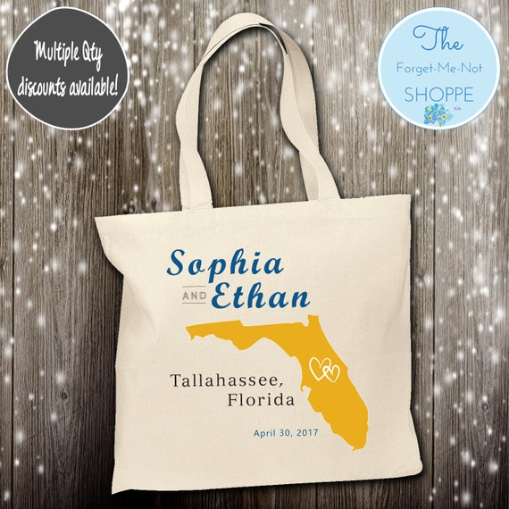 Florida State Wedding Tote Bag ~ Bride to Be tote bag, Nautical, bachelorette ,Mother,  party tote, Wedding Favor, Gift Tote