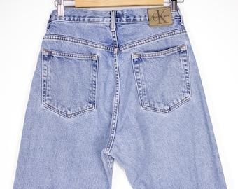 90s CALVIN KLEIN jeans - vintage 1990s CK logo  - straight leg - stone wash - 32 waist - womens size 11