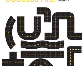 Cute Road Set Digital Clip Art for Scrapbooking Card Making Cupcake Toppers Paper Crafts