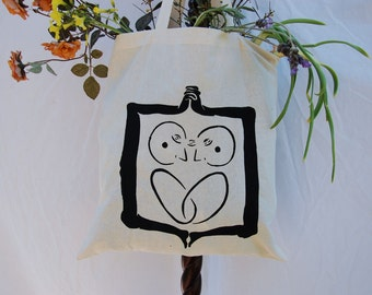 """Canvas Tote Bag with Original """"2in1"""" Screen Print Design Artwork in Black Ink on One Side"""
