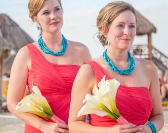 Chunky Turquoise Necklace Bridesmaid Jewelry Beach Wedding Blue Bridesmaid Megan Necklace 3 Strand Nugget, Something Blue Turquoise Bracelet