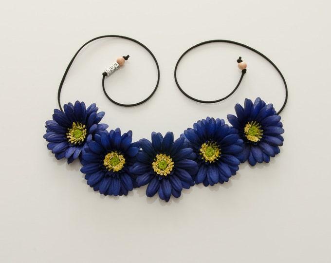 Dark Blue Daisy Flower Crown