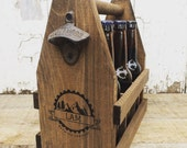 Custom Wooden 6 Pack Beer Carrier in Mountain Hiking Design