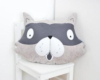 Rusty the Raccoon Felt Animal Cushion