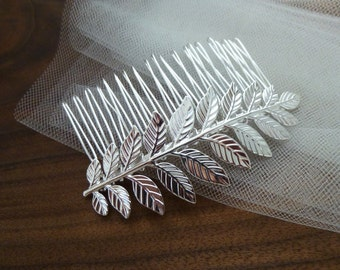 Wedding Hair Comb Silver Bridal Hair Comb Leaf Headpiece Head Piece Grecian Hairpiece Hair Piece Grecian Wedding Bridal Hair Accessories