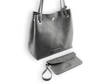 Posh bucket bag #toxleather | Gray leather bucket | Handmade shoulder | Crossbody bag