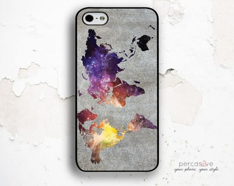 World Map iPhone Case - iPhone 6 Case Colorful iPhone 6 Plus Case, Map iPhone 6s Case, iPhone 5s Rubber Case, Colorful iPhone Case .1175